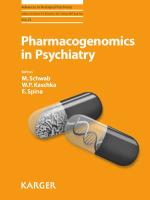Pharmacogenomics in Psychiatry (Advances in Biological Psychiatry)